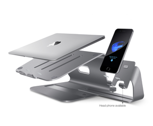 Bestand TI-Station 104 - Aluminium Laptop Stand With Cell Phone Stand 2 in 1