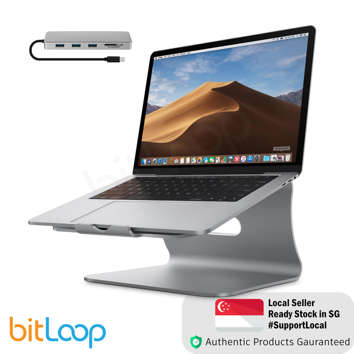 Bestand TI-Station 107 - Aluminium Laptop Stand with 5 Port USB C Hub