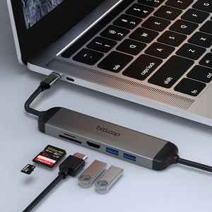 USB C 5 Port Hub with Charging Cable