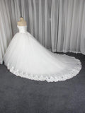 2019 Lace Strapless Elegant White A-line Tulle Wedding Dresses, Affordable Ball Gown Bridal Dresses,FPWD018