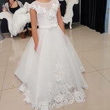 A-Line Round Neck Cap Sleeves Sweep Train Flower Girl Dresses With Lace,FG013