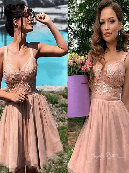 A-Line V-Neck Two Straps Short Homecoming Dresses With Appliques,FPBD103