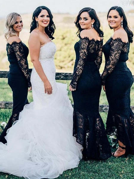 Sexy Mermaid Off Shoulder Lace Long Bridesmaid Dresses,FPWG010