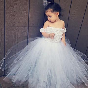 Ball Gown Off Shoulder Tulle Cute Flower Girl Dresses With Appliques,FG031