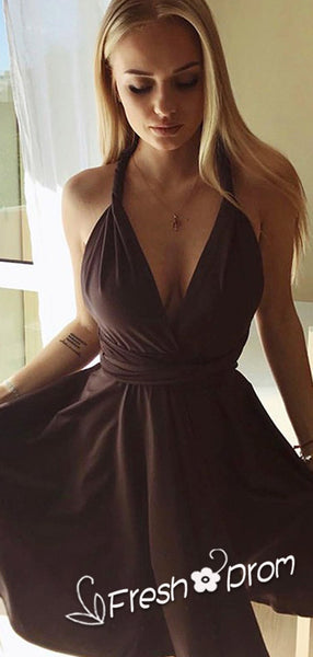 A-Line Deep V-Neck Sleeveless Halter Convertible Short Cheap Homecoming Dresses Online,FPBD115