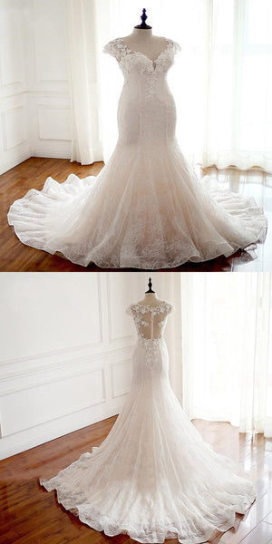 2019 New Arrival See Through Cap Sleeve Lace Mermaid Wedding Bridal Dresses,Custom Made Wedding Bridal Dresses,FPWD021