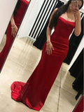 Sexy Mermaid Red Satin Backless Long Prom Dresses,FPPD036