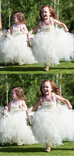 A-Line Spaghetti Straps Tulle Flower Girl Dresses With Lace,FG028