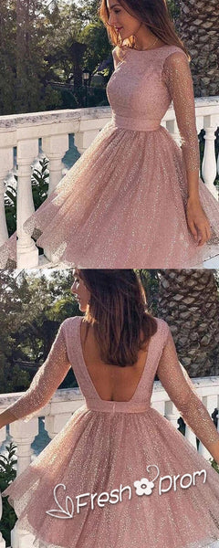 A-Line Round Neck 3/4 Sleeves Shinny Knee Length Cheap Homecoming Dresses With Open Back,FPBD117