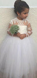 A-Line Round Neck Long Sleeves Tulle Flower Girl Dresses With Appliques,FG024
