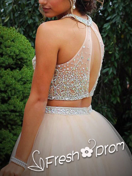 A-Line Round Neck Sleeveless Two Pieces Homecoming Dresses With Beading,FPBD120
