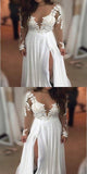 2019 See Through Chiffon Wedding Gown, Affordable Bridal Dresses,Long Sleeve Beach Wedding Dresses,FPWD023