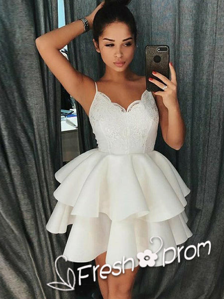 A-Line Sweetheart Spaghetti Straps White Appliqued Short Cheap Homecoming Dresses,FPBD122