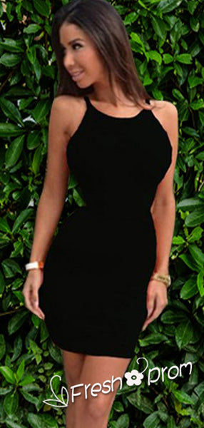 Sexy Mermaid Scoop Neckline Sleeveless Black Short Homecoming Dresses With Backless,FPBD123