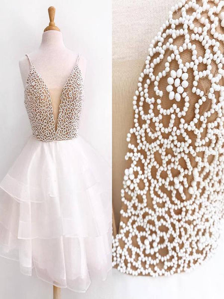 2019 New Arrival Ivory Sexy V-Neck Beaded Cute Homecoming Dresses Online,FPBD010