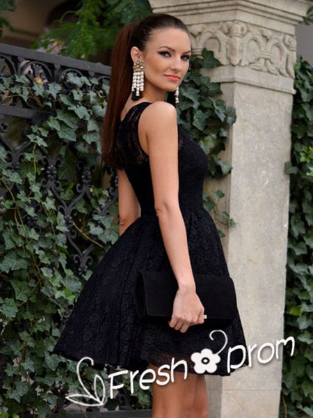 A-Line Round Neck Sleeveless Black Lace Knee Length Homecoming Dresses,FPBD125