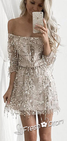 Charming A-Line Off Shoulder 3/4 Sleeves Cheap Short Homecoming Dresses With Sequins,FPBD128
