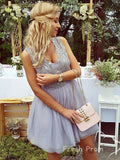 A-Line V-Neck Sleeveless Tulle Short Homecoming Dresses With Lace,FPBD129