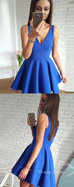 Simple A-Line V-Neck Sleeveless Royal Blue Cheap Homecoming Dresses Online,FPBD131