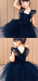A-Line Navy Blue Cap Sleeves Tulle Flower Girl Dresses With Lace,FG035