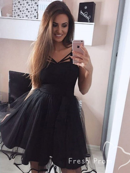 A-Line Sweetheart Sleeveess Black Short Cheap Homecoming Dresses Online,FPBD132