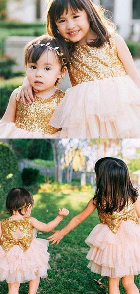 A-Line Round Neck Sleeveless Tulle Flower Girl Dresses With Sequins,FG041