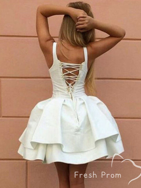 A-Line Sweetheart Two Straps Short Homecoming Dresses With Lace Up Back,FPBD134