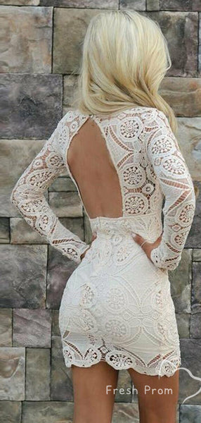 Elegant Mermaid V-Neck Long Sleeves Lace Short Homecoming Dresses With Open Back,FPBD137