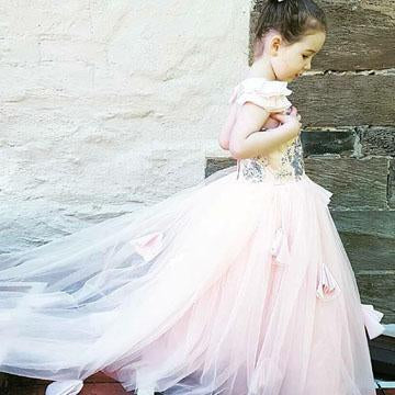 Cute A-Line Sleeveless Pink Tulle Flower Girl Dresses With Sequins,FG043