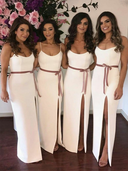 Beautiful White Spaghetti Straps Satin Side Slit Long Bridesmaid Dresses,FPWG013