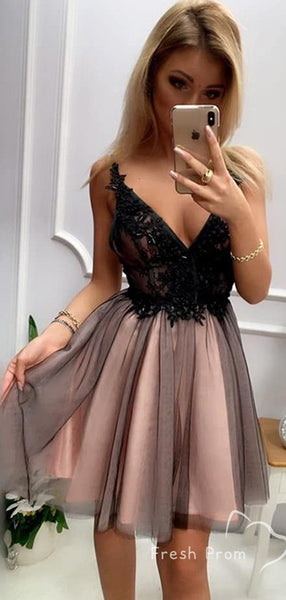 A-Line Deep V-Neck Spaghetti Straps Backless Tulle Homecoming Dresses With Appliques,FPBD140