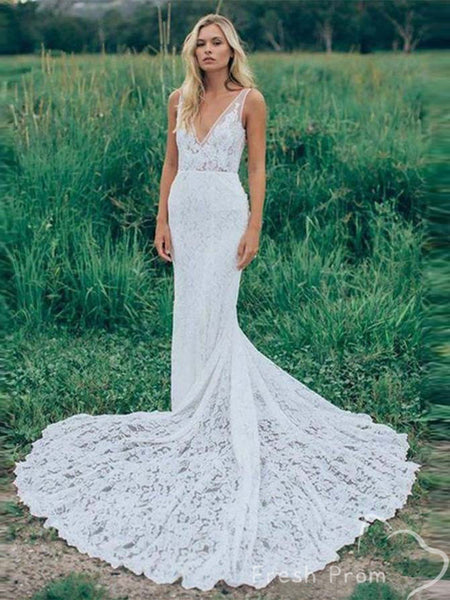 Elegnat Sexy Deep V-Neck Sleeveless Lace Sweep Train Wedding Dresses Online,FPWD141