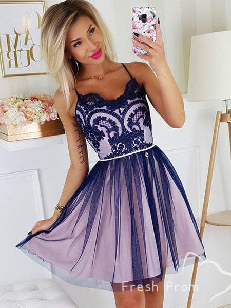 A-Line Sweetheart Spaghetti Straps Tulle Short Homecoming Dresses With Appliques,FPBD141