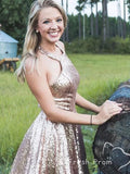 A-Line Sparkly Halter Sleeveless Sequined Short Homecoming Dresses Online,FPBD142