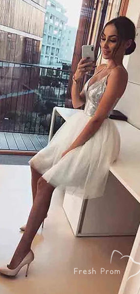A-Line Deep V-Neck Spaghetti Straps Tulle Short Homecoming Dresses With Sequins,FPBD144