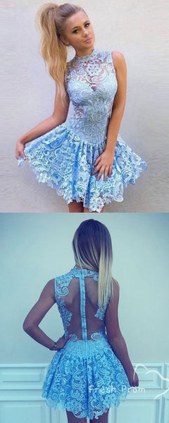 A-Line High Neck Sleeveless Lace Short Homecoming Dresses Online,FPBD146