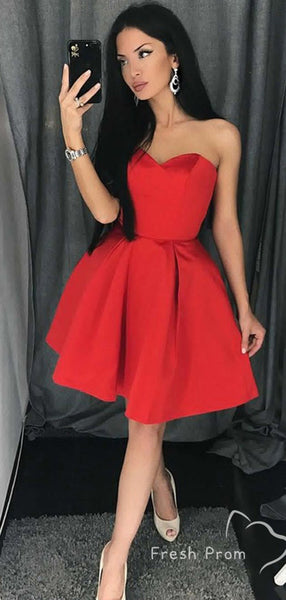 Simple A-Line Strapless Red Cheap Short Homecoming Dresses Online,FPBD148