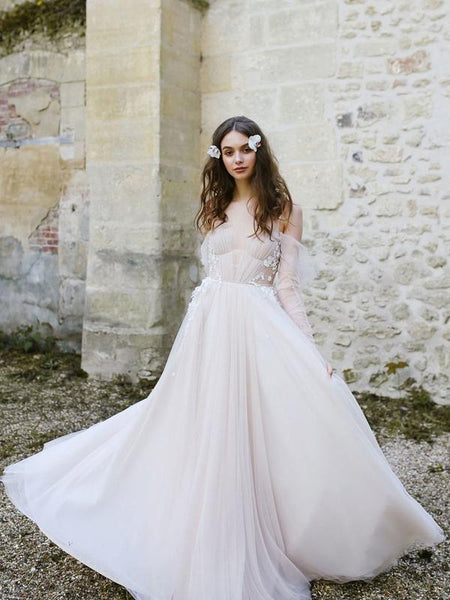 2019 A-Line Scoop Neckline Tulle Floor Length Wedding Dresses With Long Sleeves,FPWD012