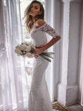 2019 Eye-Catching Lace Off Shoulder Neckline Two Pieces Mermaid Wedding Dresses,White Long Wedding Dresses Online,FPWD016