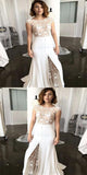 2019 Fashionable Lace & Satin Bateau Neckline Mermaid Wedding Dresses,Sexy Side Slit Long Wedding Dresses,FPWD017
