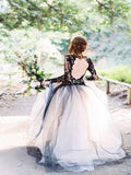 Alluring Tulle V-Neck Neckline A-line Wedding Dresses With Appliques ,Black Lace Wedding Dresses Online,FPWD034