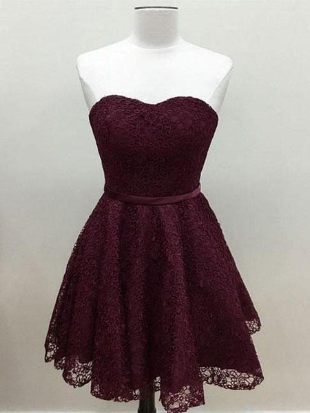 2019 Cute Simple Maroon Short Lace Homecoming Dresses With Sweetheart Neckline,FPBD006