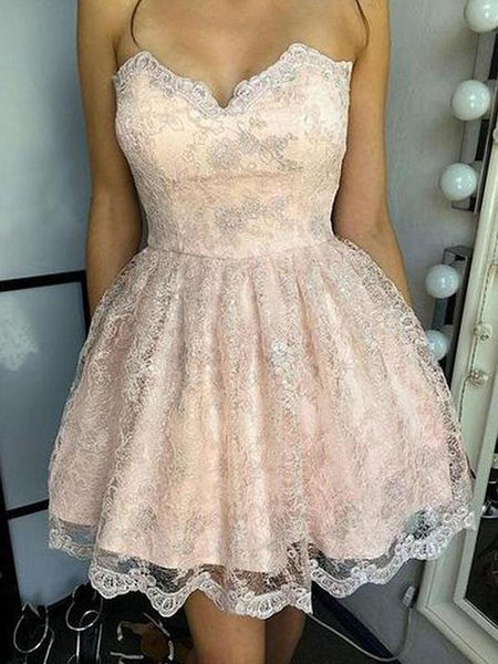 A-Line Sweetheart Light Pink Homecoming Dresses,Pretty Lace Short Homecoming Dresses,FPBD024