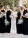Simple Sheath Halter Round Neck Sleeveless Black Chiffon Long Bridesmaid Dresses,FPWG196