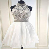 2019 New Arrival A-Line White Short Homecoming Dresses With Halter,Cheap Homecoming Dresses,FPBD008