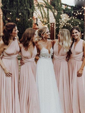 Pretty Mismatched Pink Satin Long Bridesmaid Dresses,FPWG002