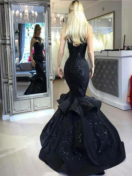 See Through Mermaid Black Beading Long Prom Dresses,FPPD020