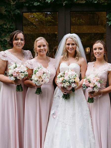 Pretty A-Line V-Neck Cap Sleeves Pink Chiffon Long Bridesmaid Dresses With Lace,FPWG202