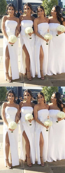 Pretty Sheath Sweetheart Side Slit White Long Bridesmaid Dresses,FPWG205