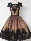 2019 New Arrival Short Brown Homecoming Dresses With Short Sleeves,Sweetheart Black Lace Homecoming Dresses Online,FPBD012